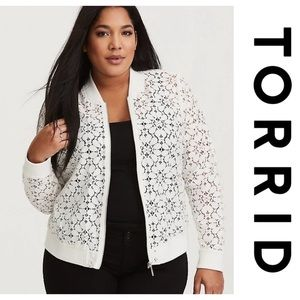 Torrid | White Sheer Lace Bomber Jacket Ivory 3